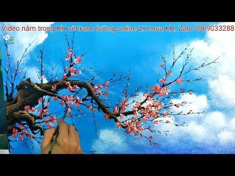 Hướng dẫn vẽ cành đào trần mây, video lằm trong khóa học vẽ tranh tường online.