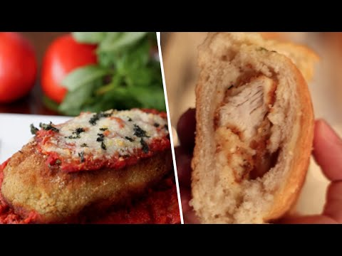Stuffed Chicken Parm VS Chicken Parm Stuffed Garlic Bread- Buzzfeed Test #47
