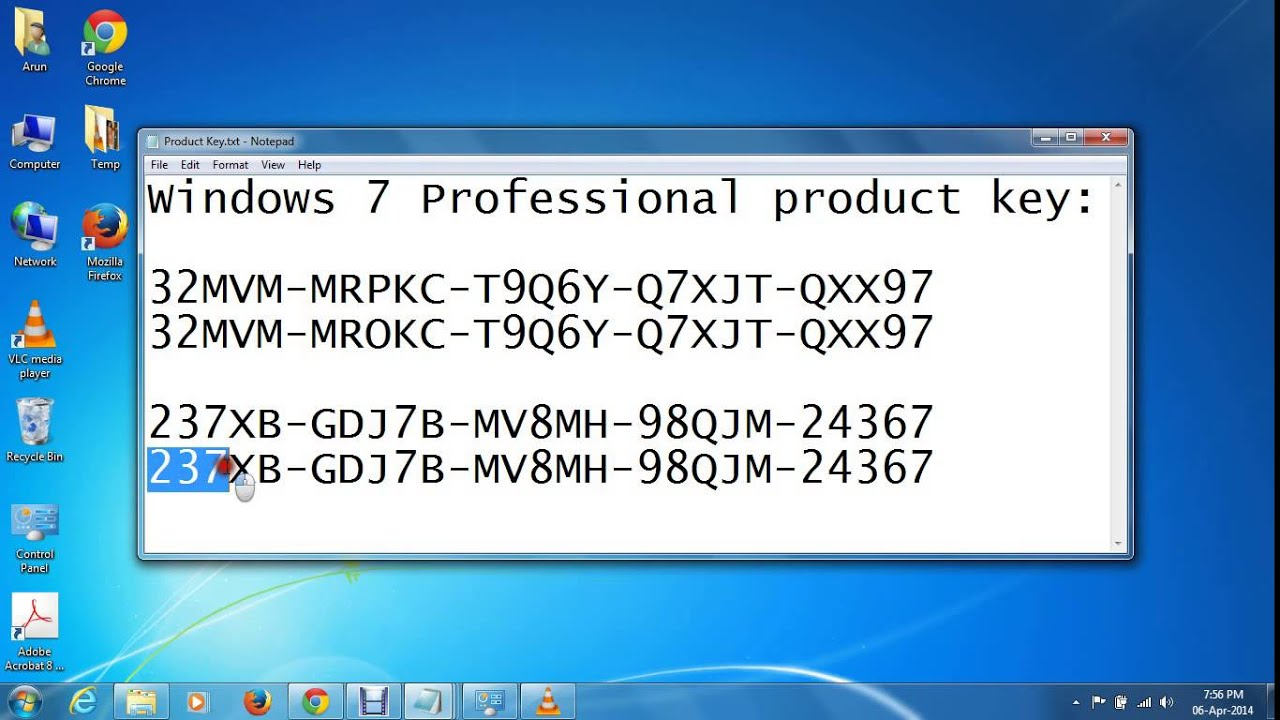 windows 7 professional 64 bit product code