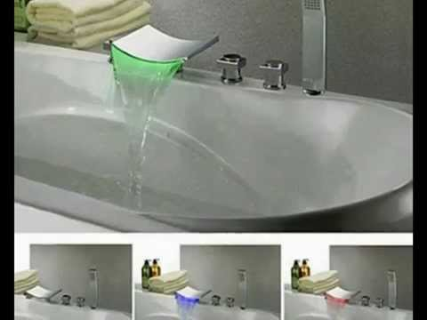 Waterfall Widespread Contemporary Tub Faucet With Handshower - YouTube
