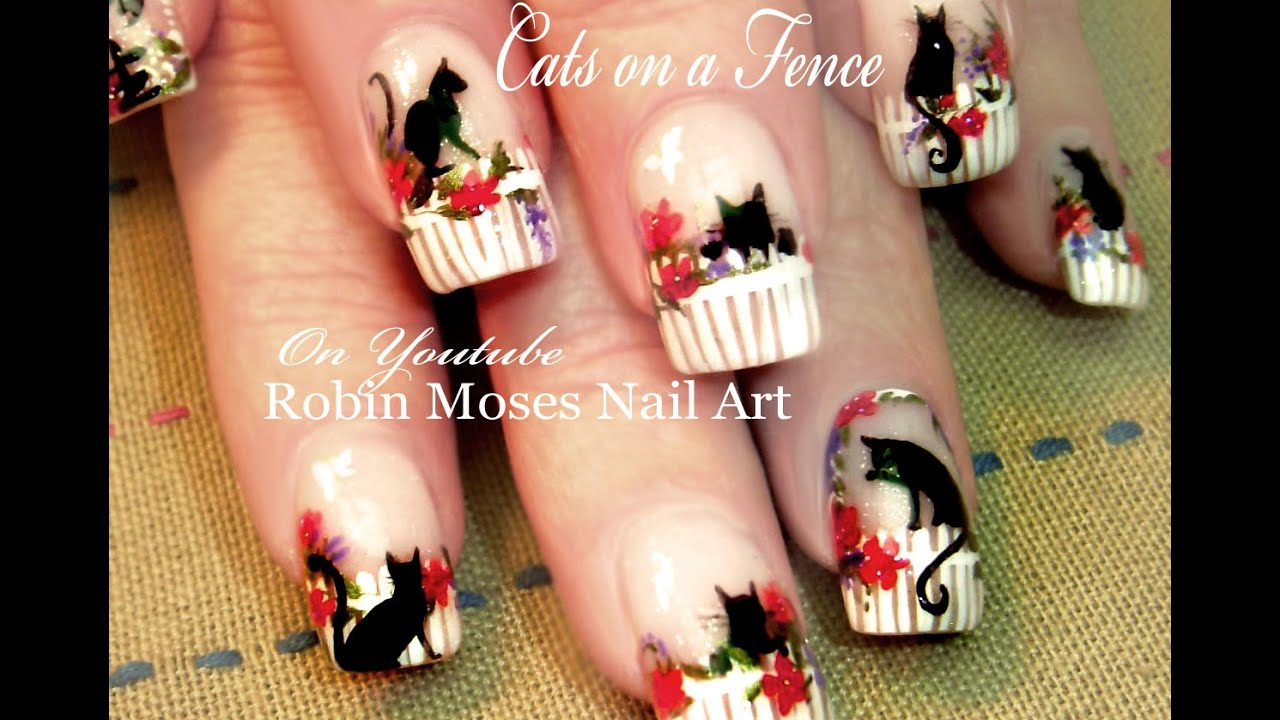 Easy Cat Nails Diy Kitty Cats Nail Art Design Tutorial Youtube
