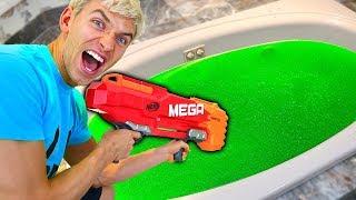 NERF GUN VS SLIME BATH!!