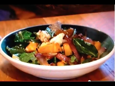 How to cook a warm pumpkin salad with goat's cheese & a honey dressing