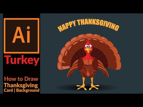 Drawing a cartoon turkey for Thanksgiving card - Adobe illustrator Tutorial