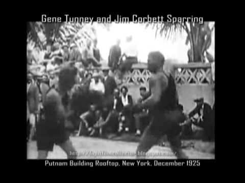Gene Tunney & James J Corbett Sparring Film, New York 1925