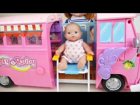 Thumbnail: Baby doli and Camping bus baby doll car toys play