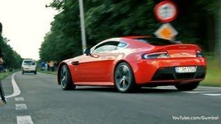 2x Aston Martin V12 Vantage + Ferrari 458 Italia SOUNDS!!