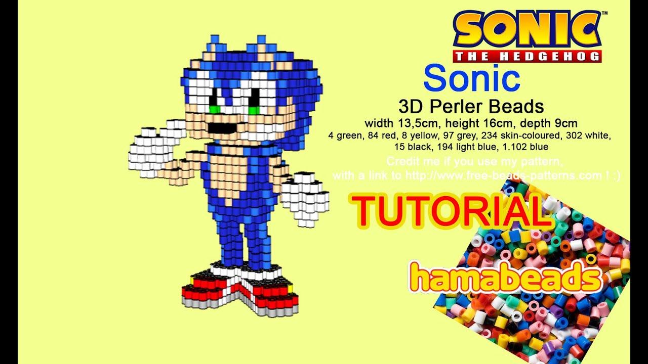 3D perler beads hama beads Sonic The Hedgehog tutorial pattern