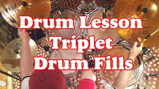 Drum lessons - Triplet Drum Fills (Jazz Rock) - Уроки игры на барабанах Триоли на ударной установке