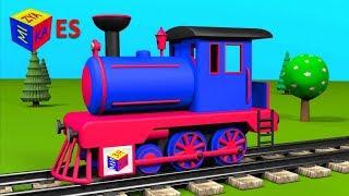 Juego de construcción: una locomotora de vapor. Los trenes para niños. Dibujos animados en español thumbnail