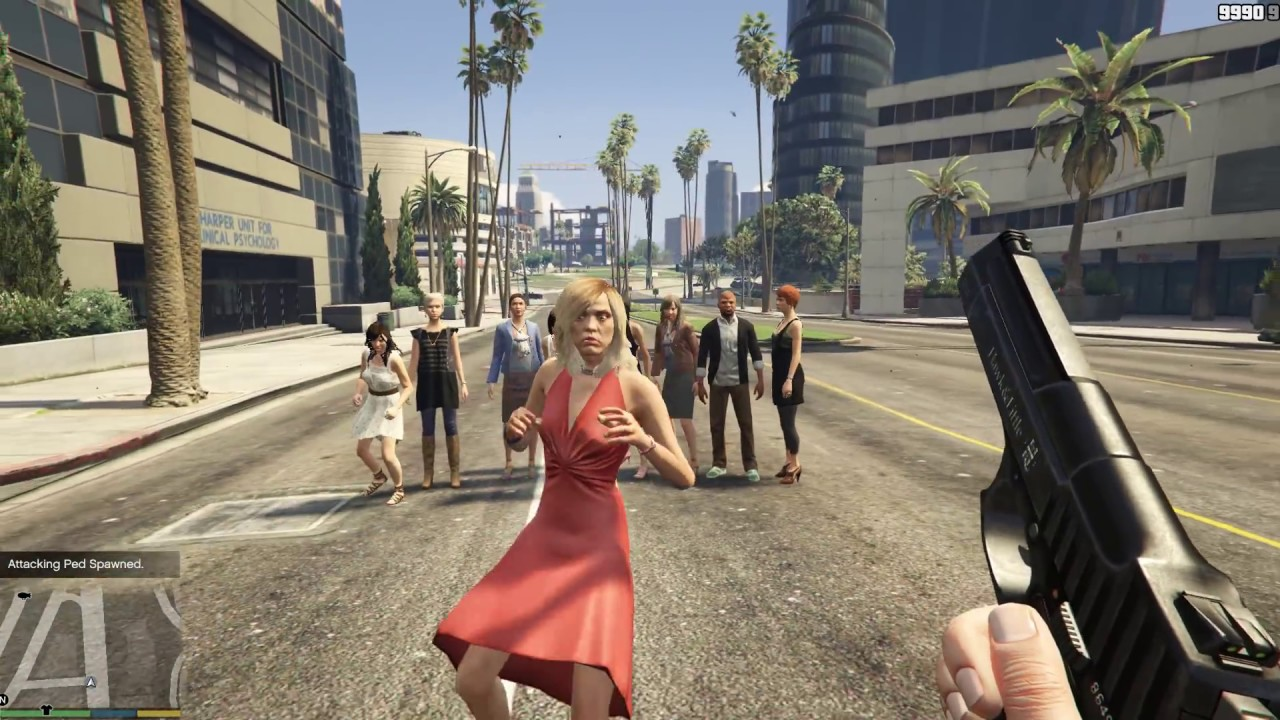 GTA V Spawn Random attacking Ped [1080p60]