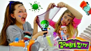 ЗОМБИ. Распаковка Zombie Zity. Настя, Ксюша и Игры Зомби. Машина Слизевоз