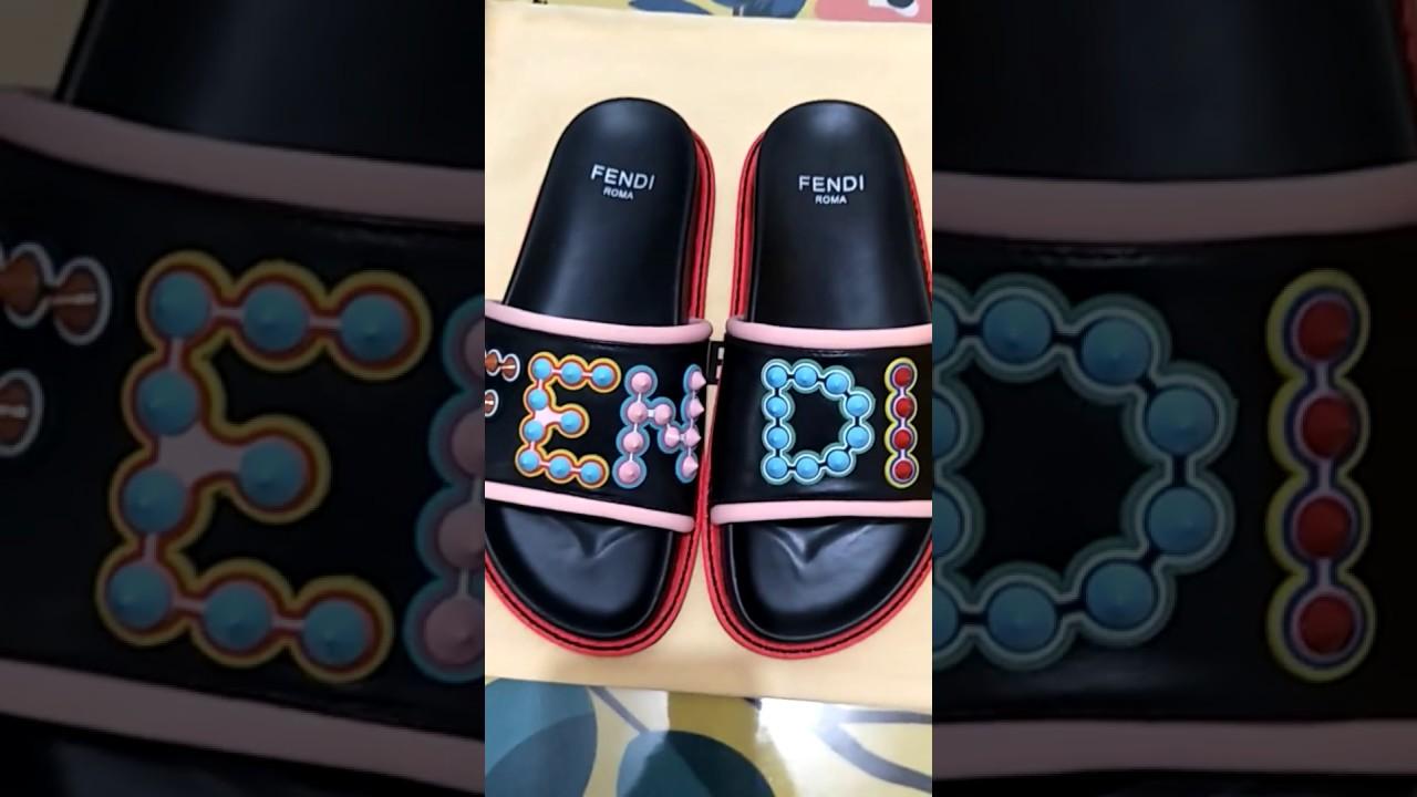 af95fd7d4daadb 2018 Fendi New Style Fendi Studded Logo Leather Slides Flip Flops Unboxing  Review