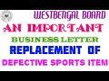 Important business letter on replacement of defective sports goods