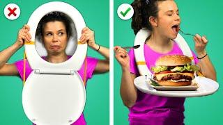 WHAT!? 😲 12 ASTUCES Amusantes avec de la NOIRRITURE! Trucs avec de la Nourriture & Idées DIY