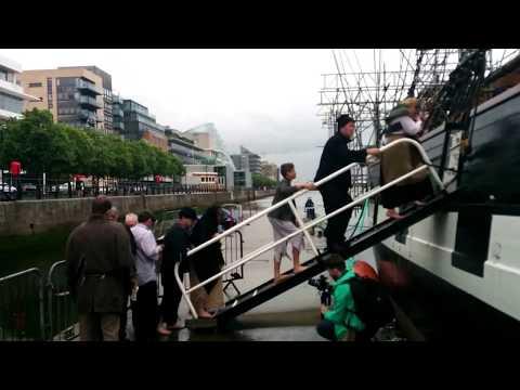 Famine Way Walkers 2017 board the Jeanie Johnston Famine Ship at Spencer Dock, Dublin