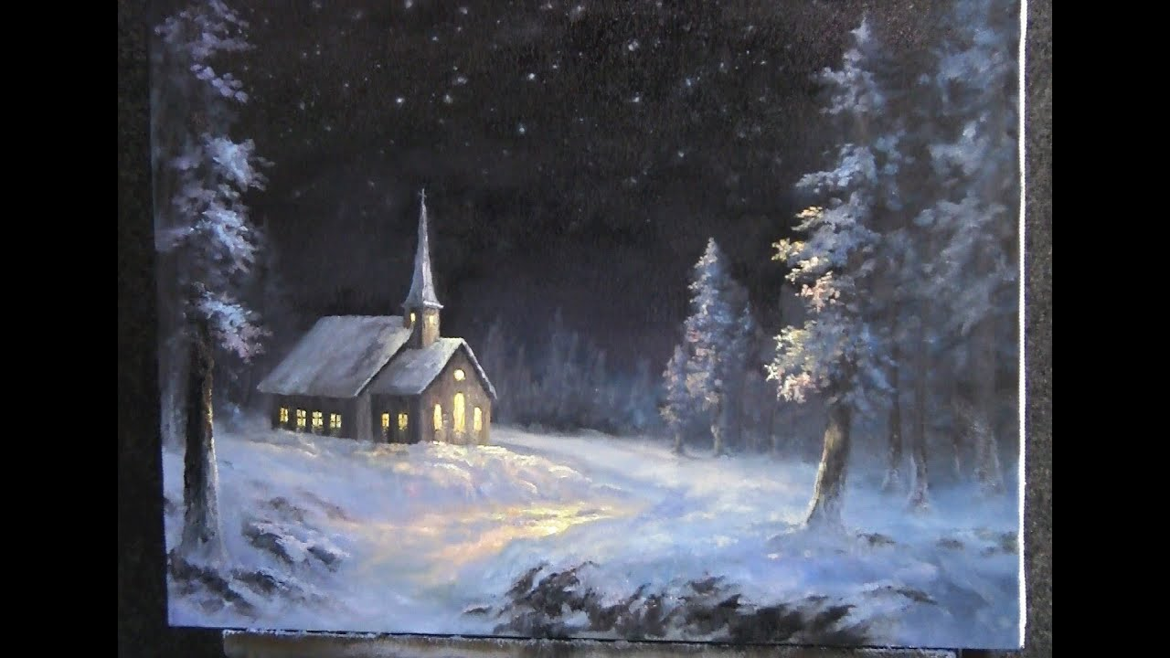 Paint With Kevin Hill Snowy Christmas Youtube