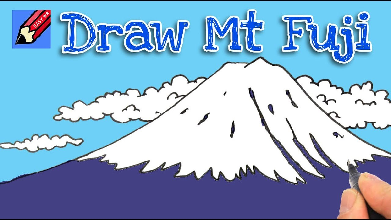 How to draw Mount Fuji Real Easy - step by step - YouTube