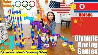 Family Toy Racing. Marble Racing Olympic Games Race #19. USA Vs North Korea Vs China