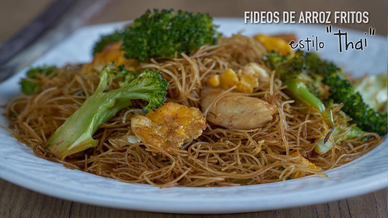 Fideos De Arroz Fritos Con Salsa De Soja Estilo Thai Rice Vermicelli Pad Se Ew Youtube