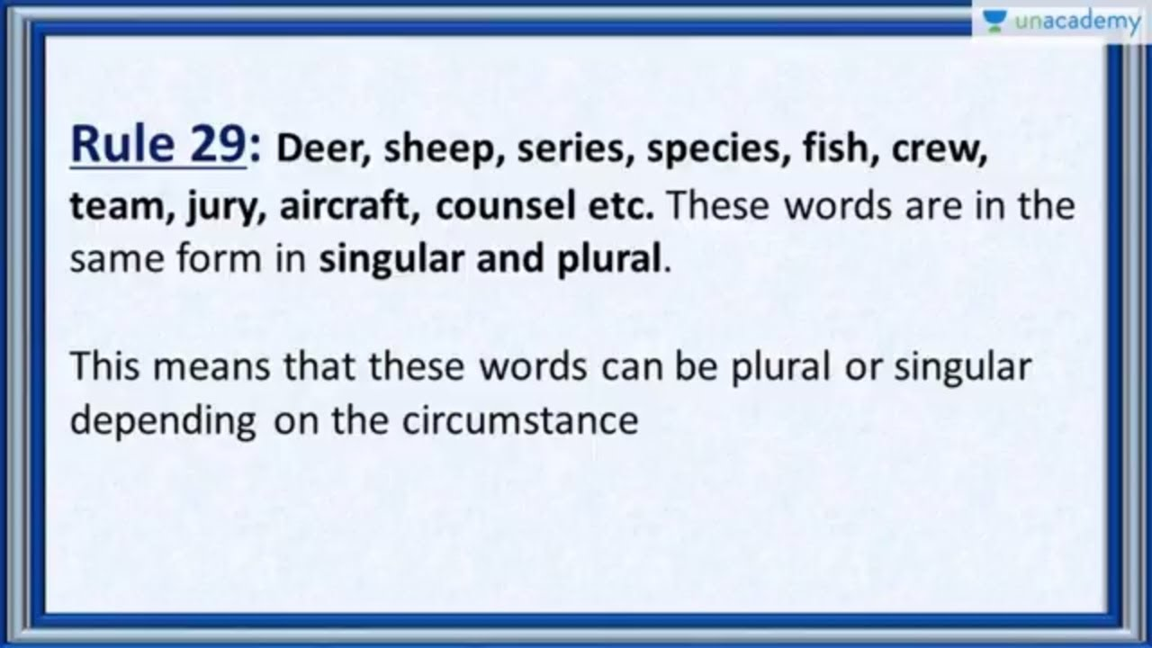 Subject Verb Agreement Rule 29 Nouns That Are Plural And Singular