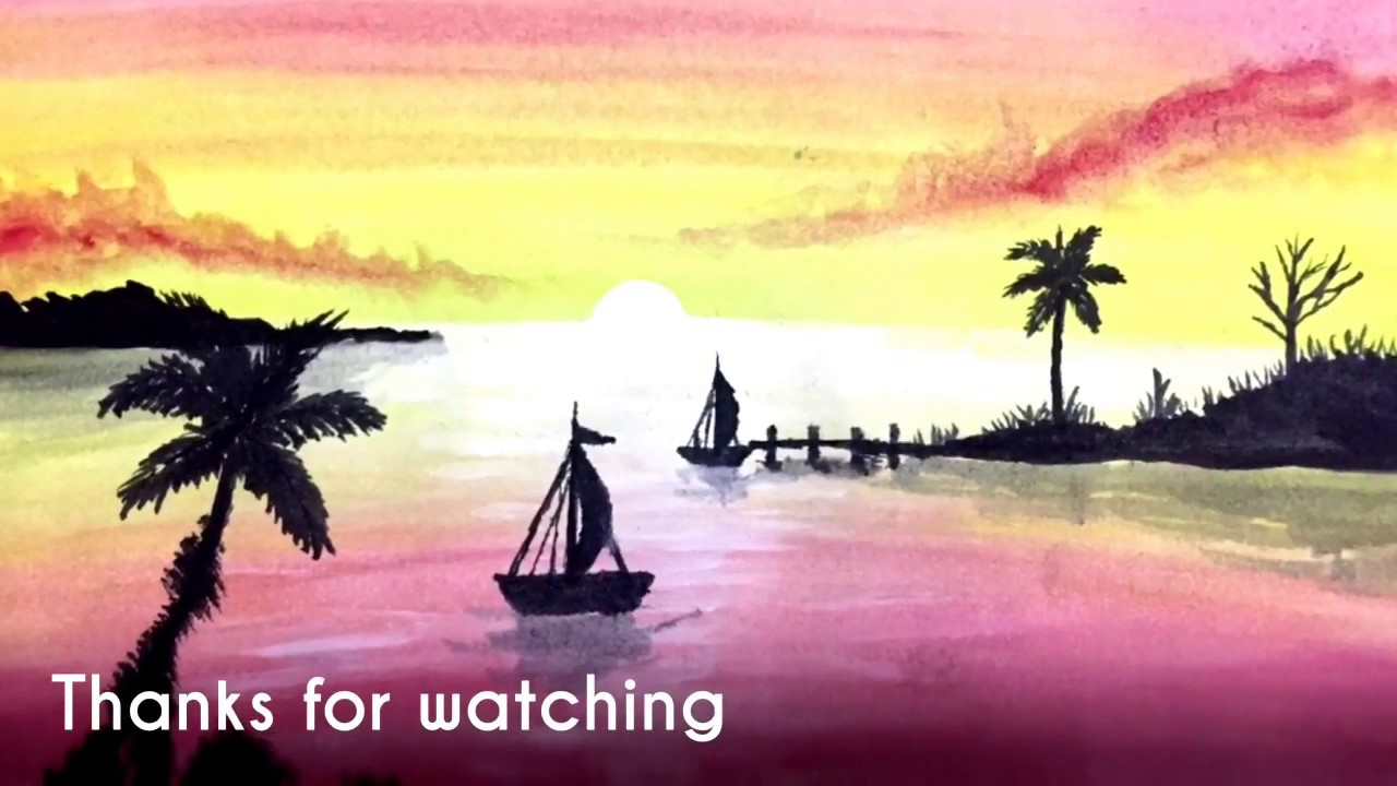 Color Painting poster color painting for seaside sunset - youtube