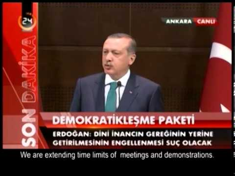 Turkish Prime Minister Recep Tayyip Erdoğan declares The Package Of Democracy 30.09.2013