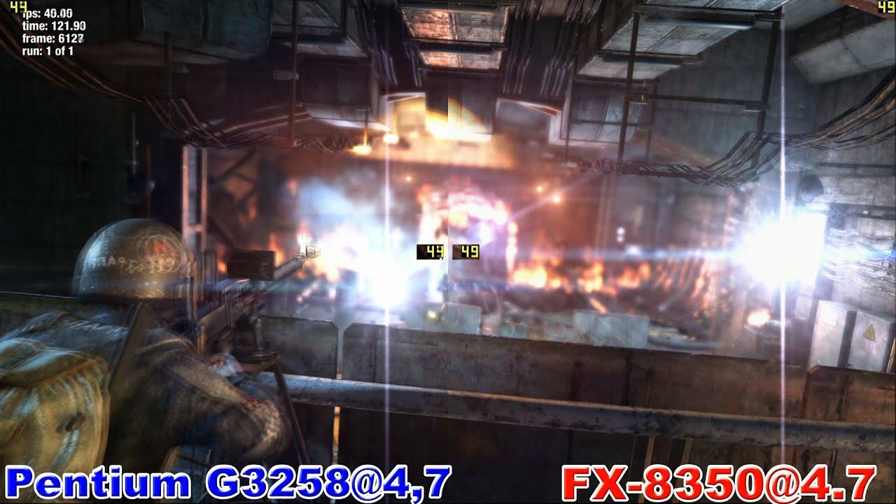 Pentium G3258 vs FX 8350 in Metro: Last Light (GTX 970)