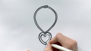 How to Draw a Cartoon Love Heart Necklace For Valentine