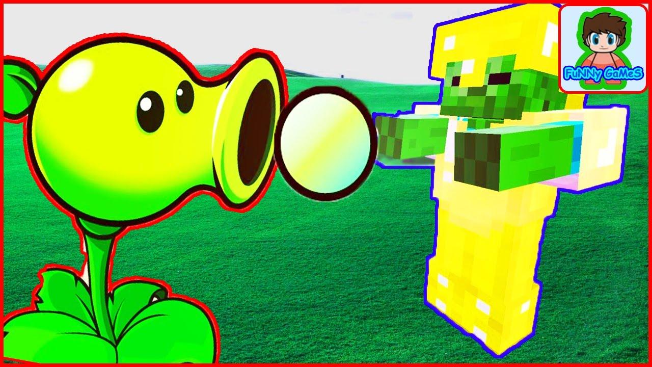 Майнкрафт напал на растение против зомби смотреть Minecraft Plants vs zombie От Фаника 1