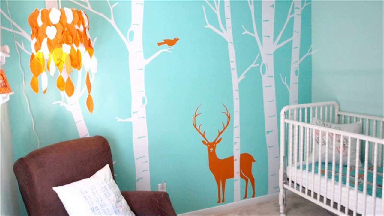 Modern wall decals baby room decor youtube amipublicfo Gallery
