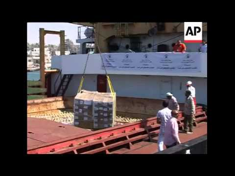 Libyan aid ship docks in Egypt; Hamas ADDS aid being unloaded