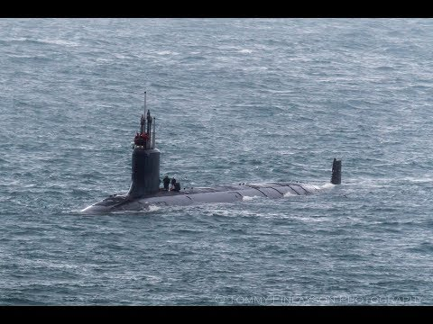 Submarine USS JOHN WARNER departs Gibraltar