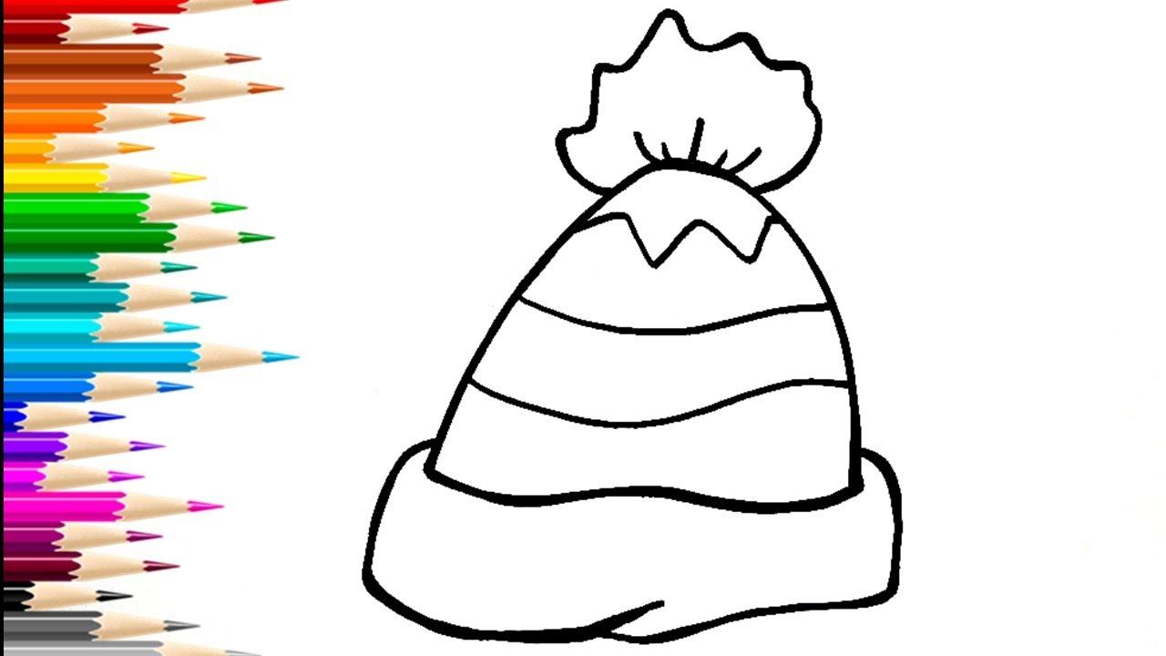 Как нарисовать зимнюю шапку / Мультик раскраска ШАПКА ...