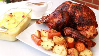 Spit Roast Turkey, Potatoes And Cheesy Cauliflower Bake Video Recipe