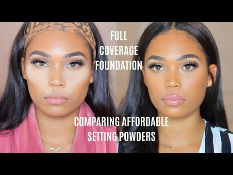 AFFORDABLE  SETTING POWDERS W/ NO FLASH BACK | FULL COVERAGE FOUNDATION ROUTINE | Briana Monique鈥�