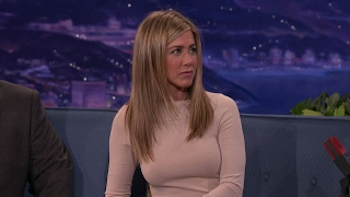 Jennifer Aniston wearing a sexy tight sweater with pokies live on Conan [Close up HD Edit]