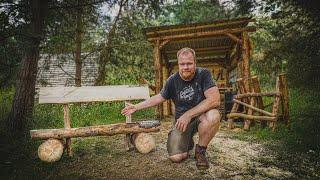 Bank aus Baumstamm selber bauen