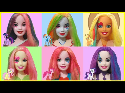 Play Doh Rainbow Dash Pinkie Pie Applejack Rarity Fluttershy Twilight Sparkle - Barbie Styling Head