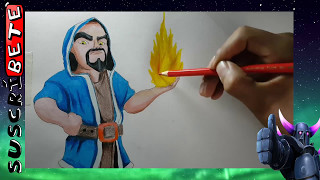 Como dibujar al mago de fuego clash royale paso x paso /HOW TO DRAW FIRE WIZARD