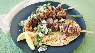 Greek Chicken Kebabs With Radish, Cucumber, And Feta Salsa