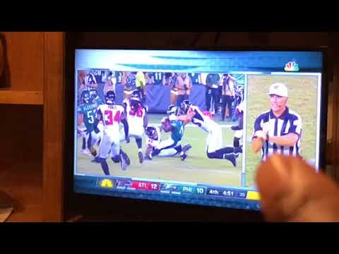NFL Referee Makes Wrong Signal For Face Mask During Falcons vs Eagles Game