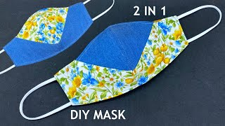 2 In 1 Cute Mask Making Ideas Diy Breathable Fabric Face Mask Easy Pattern Sewing Tutorial At Home