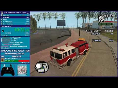 GTA San Andreas 100% Los Santos Speedrun - Hugo_One Twitch Stream - 11/13/2017