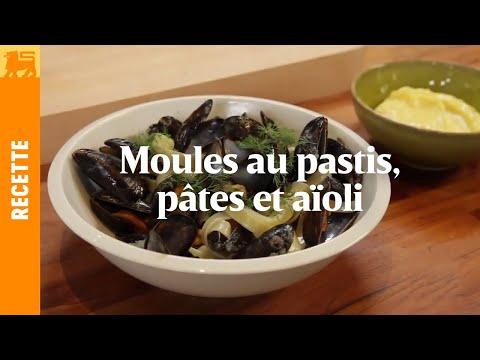 Moules au pastis, pâtes et aïoli