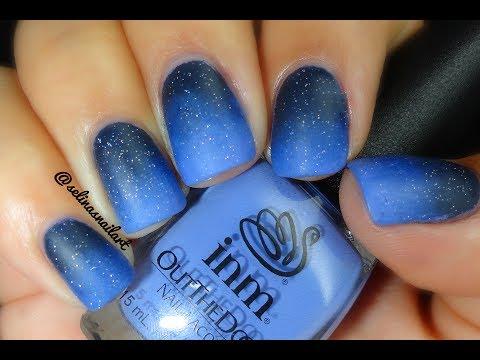 matte blue ombre nail art feat