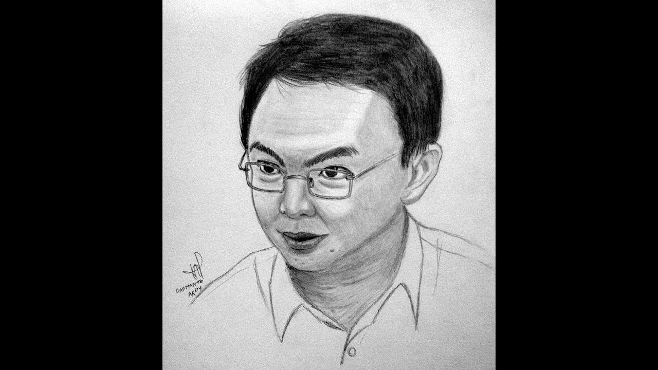 Menggambar Sketsa Wajah Gubernur DKI Jakarta Ahok Basuki Tjahaja