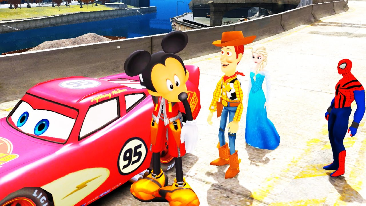 spiderman elsa la reine des neiges woody toy story mickey s 39 amusent avec flash mcqueen. Black Bedroom Furniture Sets. Home Design Ideas
