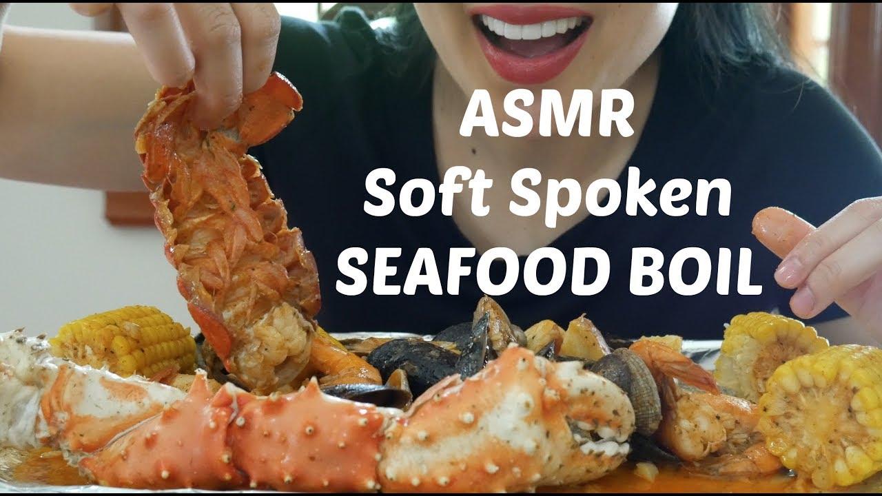 ASMR Soft Spoken SEAFOOD BOIL king crab, lobster tails (Eating Sounds) MUKBANG | SAS-ASMR - YouTube