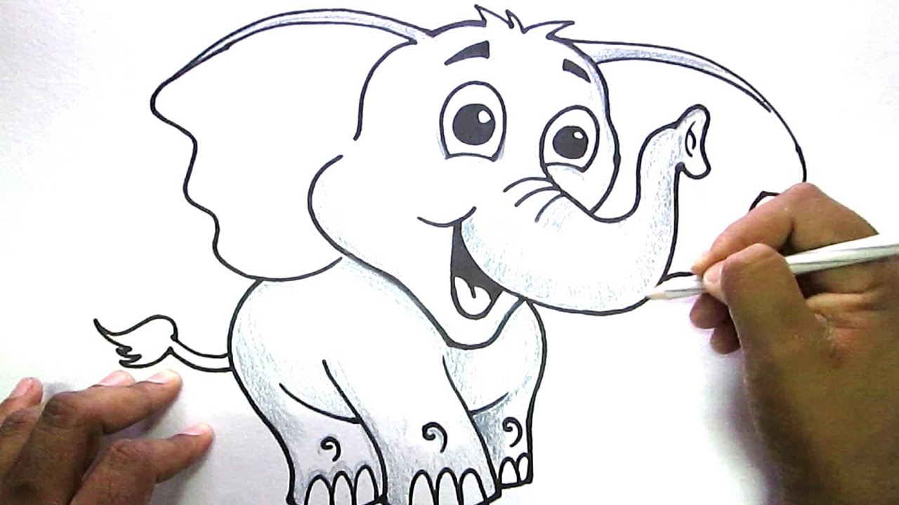 How To Draw Cute Elephant Youtube